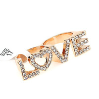 Promotion 2014 Hot Sale Fashion Vintage Personality LOVE Letter Inlay Full Rhinestone Double Loop Ring For Woman JR119