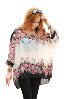 Latest Fashion Bohemian Hippie Big Size Batwing Sleeve Chiffon Blouse Loose Shirt  Free Shipping