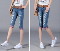 New 2014 spring and summer fashion hole flanging jeans women casual slim skinny pleated ladies denim pants capris mid waist
