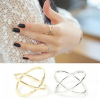 Sunshine jewelry store fashion x three-dimensional joined cross ring ( $10 free shipping )