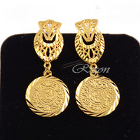 1pair Womens Ladies 18k Solid Yellow Gold Filled Dangle Drop Gold Earrings Party Jewelry E67