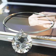 Big Grass Crystal Gem Drop Torques Choker Collar Chunky Statement Necklaces Pendants New Fashion Jewelry Women