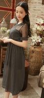 2014 Women Summer New Fashion Chiffon Dress Short-sleeve Dots Polka Elastic Waist Beige Black Free Shipping  Y03019