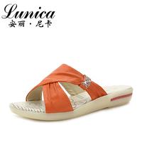 2013 genuine leather sandals flat heel female slip-resistant 1962 female slippers