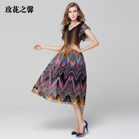 The Summer of 2014 New Women's Clothing Fashion Digital Printing Falbala V-neck Chiffon Dress