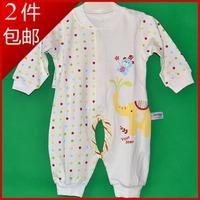 Newborn boy bear one piece open-crotch romper infant 100% cotton autumn and winter underwear sleepwear creepiness service