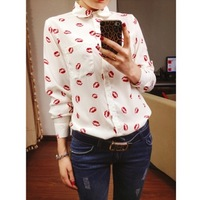 New 2014 Fashion turn-down collar long-sleeve red lips print shirt female vintage basic shirt Cheapest blouses Free Shipping