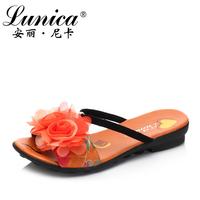 2013 brief formal flower flat heel slippers women's shoes 68796
