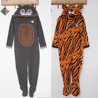 Polar fleece fabric animal casual lounge set child cartoon one piece sleepwear tiger big gray wolf
