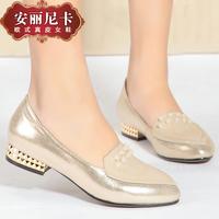 2014 spring fashion pointed toe sheepskin flat heel rivet fashion gold women's shoes single shoes
