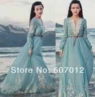 Cheap brand NEW 2014 autumn winter dress style women fashion vintage maxi long dress BOHO embroidery casual dresses celebrity