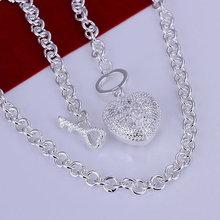 wholesale silver heart key necklace