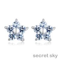 2014 Sale Trendy  Cubic Zirconia Plant Free Shipping Popular New Women's Stud Earrings Earring Zircon Statement cec00174