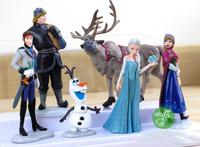 6 Pieces 4~11CM High Action Toys Figures Frozen Elsa and Anna Princess Anime Hans Kristoff Olaf snowman Sven Action Toys Dolls