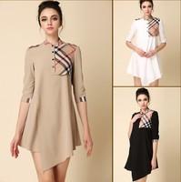 women 2014 spring and summer plaid palace grid dress elegant fashion high quality irregular sweep
