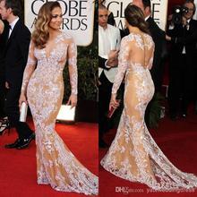 2014 oscar sexy zuhair murad Jennifer Lopez spitze schiere meerjungfrau langarm Cocktail/berühmtheit roten teppich kleidet(China (Mainland))
