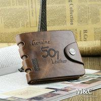 High Quality Fashion Totes Retro Vintage Design Men Genuine Leather Wallet Hunter Laser Printing Brown Brand Bifold Purse QB-006