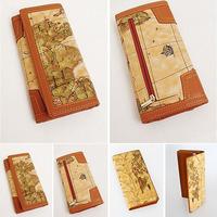 HOT SALE 2014 Women Wallet New Fashion Designer Clutch Wallet Retro Map Pattern Woman PU Leather Wallets Women Clutch purses