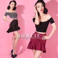 Vintage sweet all-match ruffle high waist ultra-short fish tail bust skirt