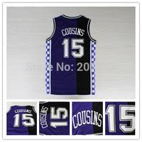 Sacramento #15 DeMarcus Cousins Throwback Split Jersey, New Rev 30 Cousins Retro Purple Basketball Jersey Embroidery Logos