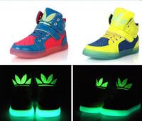 Free shipping 2014 New Fashion Running Children Boots Super Luminous hollow net Boy / Girl Shoes Kids Sneakers