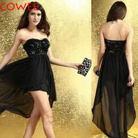 COWEE paillette tube top dovetail chiffon sexy dress women's full dress one-piece dress 6153