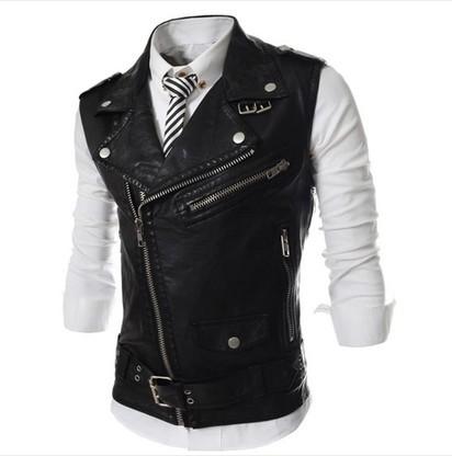 New 2014 fashion men leather jacket outdoors suit vest casual waistcoat jacket sleeveless polo coats & jackets,men's clothing(China (Mainland))