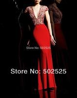 Jersey Fabric vestidos de fiesta Beading Handwork Deep V Neck  Women celebrity Evening Dresses 2014 OL102377