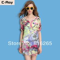 2014 summer fashion short-sleeve chiffon shirt female summer women's medium-long chiffon shirt