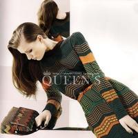 Missoni stripe color block sheep wool knitted slim one-piece dress