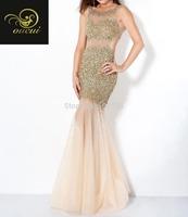 Tulle Fabric vestidos de fiesta Crazy Beading Handwork Sexy Women summer Dress Evening 2014 OL102359