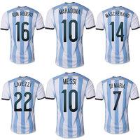 Top A 2014 World Cup Argentina Home Messi KUN AGUERO soccer jersey Grade Original thai quality football jersey soccer shirt