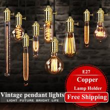 Американский старинные подвесные светильники держатель меди лампы вольфрама лампа промышленность подвесные светильники золотой / хром E27 W-filament лампы