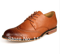 The new 2014 pointed hole polishing men daily leisure lace-up shoes