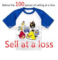 Selling children's clothes birds T-shirt children's parent-child outfit T-shirt birds green pig short-sleeved T-shirt