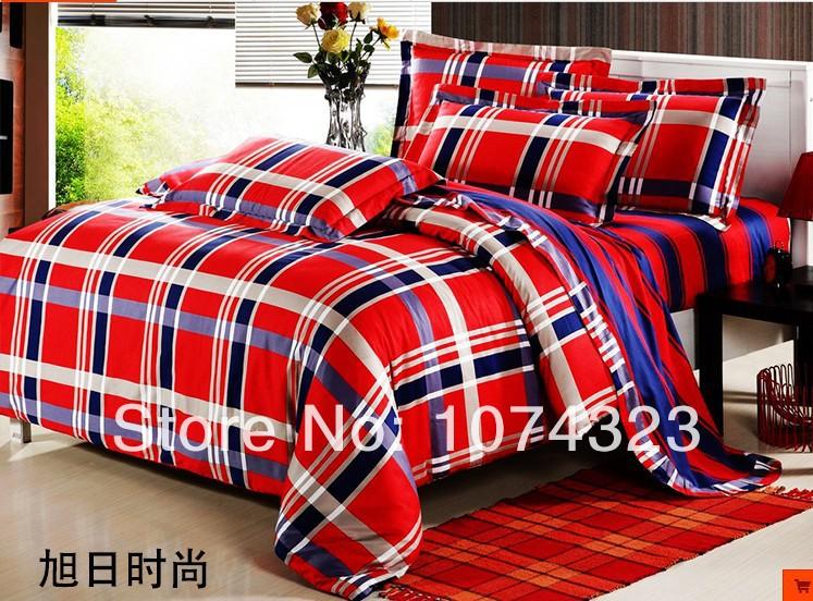 Luxo vermelho conjuntos de cama 4 pc duvet colcha cobre 100% algodão cetim de seda jacquard rei queen size têxteis lar roupa de cama roupas de cama(China (Mainland))