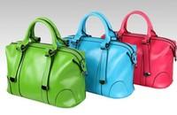 2014 women's cowhide totes bag fashion classic vintage wax leather candy color messenger shoulder handbags for women,retail