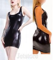 New 2014 Women Black Sexy PU PVC Faux leather Clubwear Dress Women's Erotic Dresses Sleepwear Free Shipping 10320