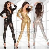 2014 New Thin Stretch Shiny Hole Jumpusuit Bodysuit  Black Silver Gold Clubwear Sexy Women Lady Dancing Dance DS Club Wear 10323