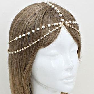 Bohemian Gold Pearl Double Layer Head Chain Headpiece Grecian headchain House Harlow Style Gypsy head jewelry