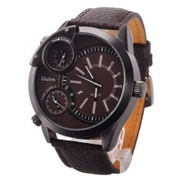 2014 new Trends Brand OULM 3136 Oversize 3 Time Zone luxury man watch Genuine Leather outdoor army sports Men's military Watches