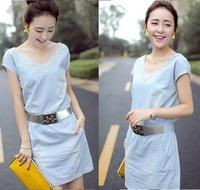 New 2014 Summer Fashion Korean Woman Lace Dresses With Belt Hot Drilling Denim Dress Women's Clothing DRESS-250959