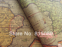 Vintage World Map Gift Wrapping Paper Present Packing Paper Wall Paper  30 pcs 75*52cm Free Shipping