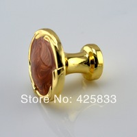 4pcs red continental gold handles luxury gold handle door knobs drawer cabinet jade cabinet pulls