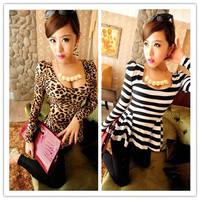 HOT!2014 Spring Autumn women  new fashion all-match leopard print stripe slim waist t-shirt               #C0842