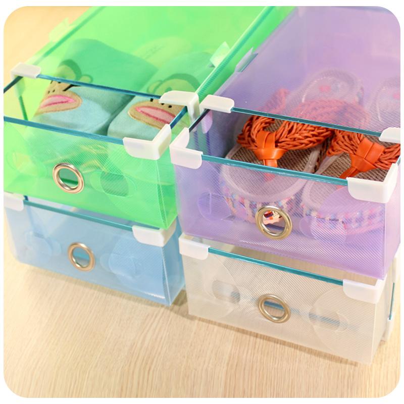 coelho corações. sapato metal grosso hemming plástico transparente caixa de sapatos de cristal da gaveta caixa de armazenamento(China (Mainland))
