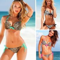 2014 Sale Leopard Bikinis Biquines Swimsuits New Arrival Hot-selling Drop 6 Color Bikini Swimwear V-neck Steel Push Up Princess