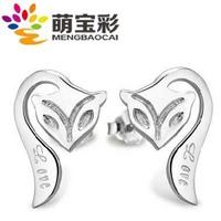 Stud earring 925 pure silver fox lovely
