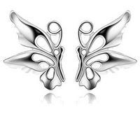 Stud earring 925 fairy wings platinum for female