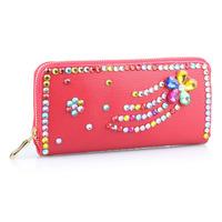 2014 New Bestselling PU Leather Diamante Design Woman Wallets Fashion Female Clutch Purse for Women WZ-1281